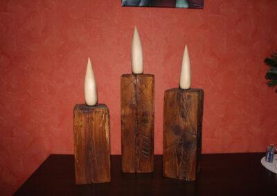 Kerzen aus alten Balken, Flamme aus Ahorn, gewachst