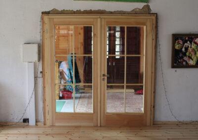 zwei- flügelige Tür, Kiefer farblos gewachst
